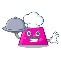 chef with food trapezoid mascot cartoon style vector image
