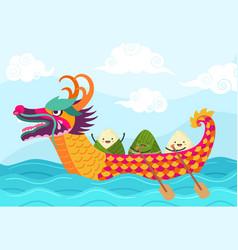 chinese boat festival dragons festivity ship vector image