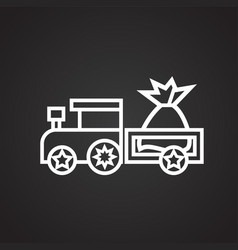 Christmas train with gifts thin line on black vector