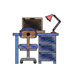 Color crayon stripe silhouette of desk home with vector