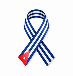 cuban flag stripe ribbon on white background vector image