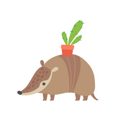 Cute armadillo carrying flower pot on its back vector