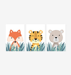 cute posters with fox tiger and bear vector image