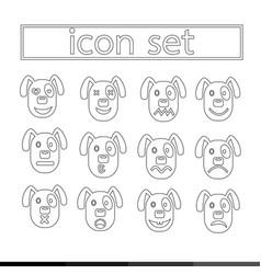 Dog emotion icon set design vector