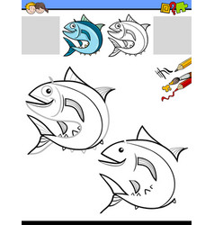 drawing and coloring worksheet with fish vector image