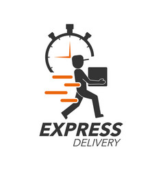Express delivery icon concept delivery man with vector
