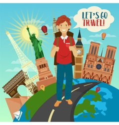 Famous buildings on globe and happy tourist vector