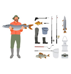 Fisherman with fish in hands and tackle sketch vector
