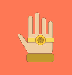 Flat icon on background kids toy bracelet hand vector