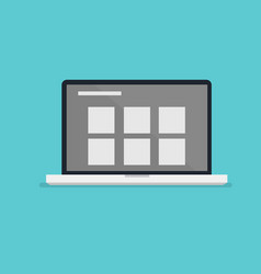 Flat laptop design with layout information on vector