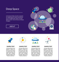 Flat space icons landing page template vector