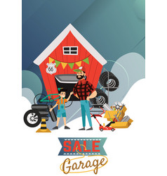 Garage sale man and boy sell used car parts vector