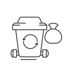 garbage line icon concept garbage linear vector image