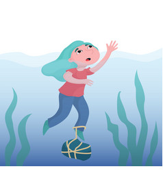 Girl drowning in deep water crying for help vector