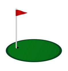 Golf hole with red flag vector