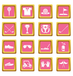 golf icons set pink square vector image