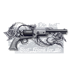 graphic detailed old revolver with roses vector image