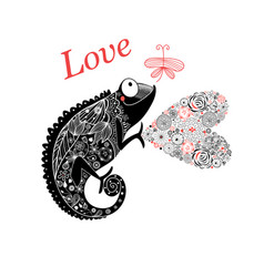 graphic enamored chameleon with a heart and vector image