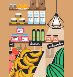 Grocery store farmers market poster vector