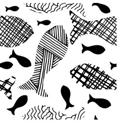 Hand drawn doodle fishes seamless pattern vector