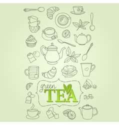 Hand drawn green tea doodle concept vector image