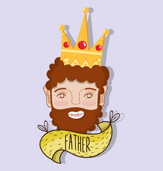 Happy father with crown and beard vector