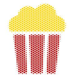 Hexagon halftone popcorn bucket icon vector