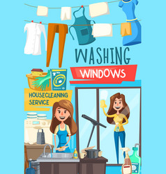 housecleaning and washing windows service vector image