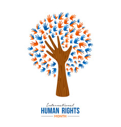 Human rights month card diverse people hands vector