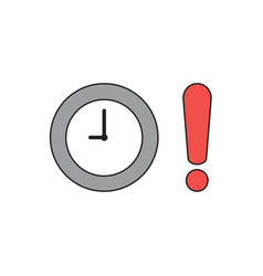 Icon concept clock with exclamation mark black vector