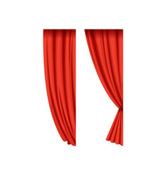 icons of red silk or velvet theatrical curtains vector image
