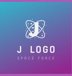 J initial space force logo design galaxy rocket vector