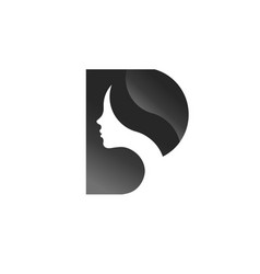 letter p with beauty face women logo vector image