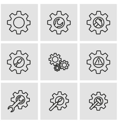 line tools in gear icon set vector image