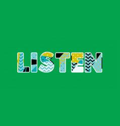 Listen concept word art vector