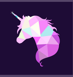 magic unicorn silhouette collection in low poly vector image