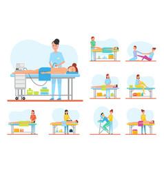 massage apparatus and back massaging set vector image
