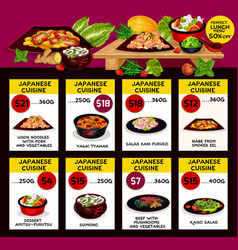 Menu for japanese cuisine restaurant vector