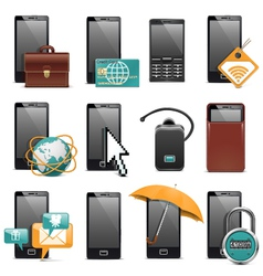 Mobile phone icons vector