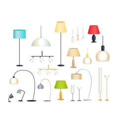 modern indoor floor lamps and chandeliers set vector image