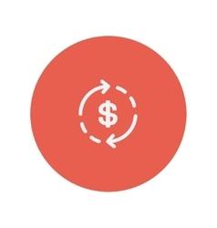 Money dollar symbol with arrow thin line icon vector