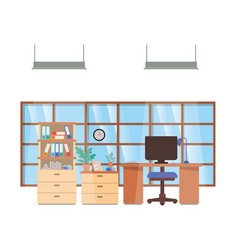 Office desk and shelving with books isolated icon vector