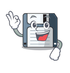 Okay floppy disk isolated with a mascot vector