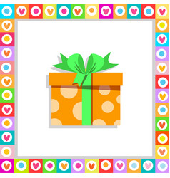 orange gift box wrapped with festive bow framed vector image