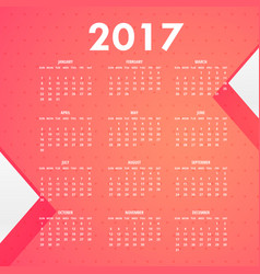 Pink background for 2017 calendar vector