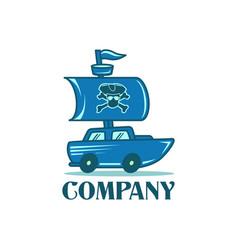 pirate car logo creative concept vector image