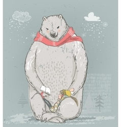 polar bear with little girl vector image