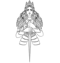 Portrait beautiful girl with a sword and crown vector