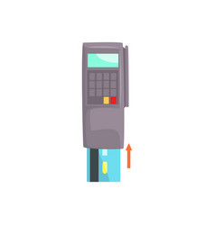 Pos terminal with inserted credit card online vector