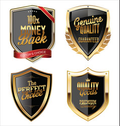 premium quality golden shields collection vector image